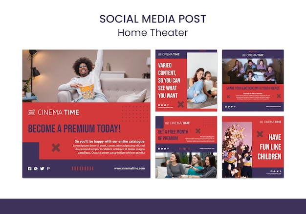 Modello di post di social media home theater