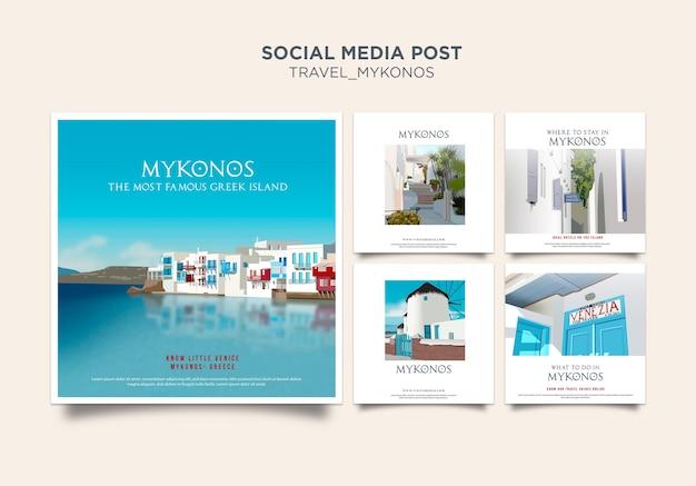 Modello di post di social media mykonos di viaggio