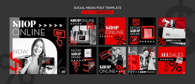Modello di post di social media online negozio di moda