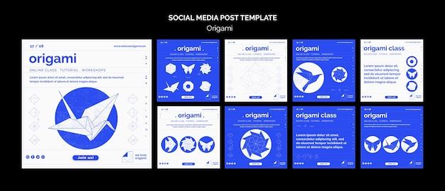 Modello di post di social media origami