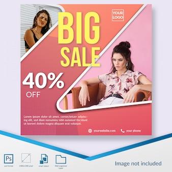 Modello di post di social media promozionale di grande vendita di moda