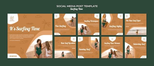 Modello di post di social media surf