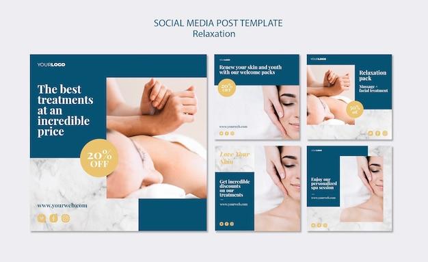 Modello di post di social media trattamento spa