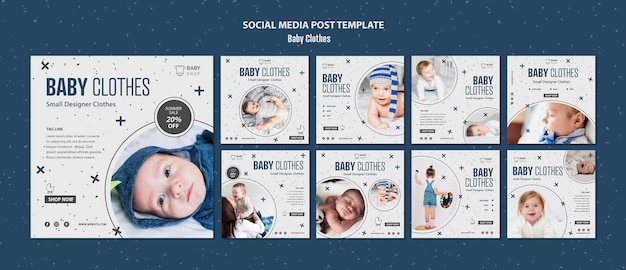 Modello di post di social media vestiti del bambino