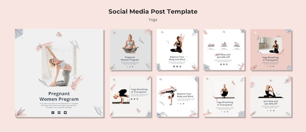 Modello di post di social media yoga