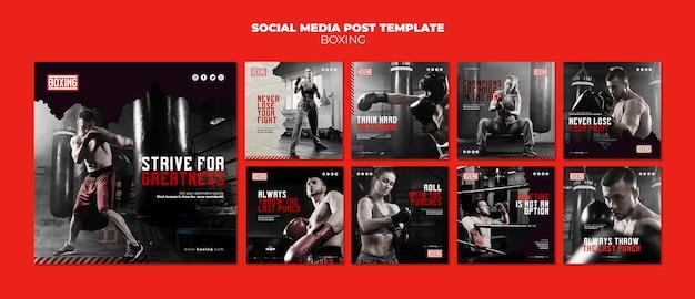 Modello di post instagram annuncio di boxe