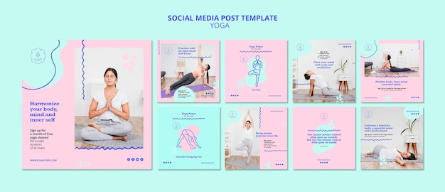 Modello di post instagram annuncio yoga