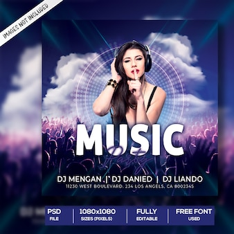Modello di post instagram music party