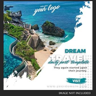 Modello di post instagram per viaggi o vacanze