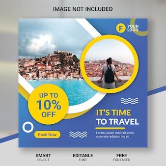 Modello di post instagram tour di viaggio
