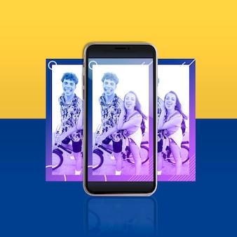 Modello di post moderno instagram con smartphone