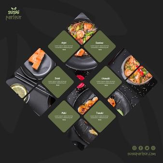 Modello di post quadrato per ristorante giapponese