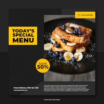 Modello di post ristorante social banner e cibo menu social media