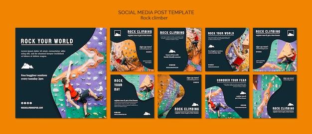 Modello di post social media arrampicata su roccia