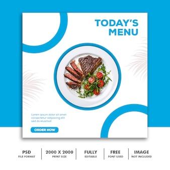 Modello di post social media banner di instagram, cibo blu