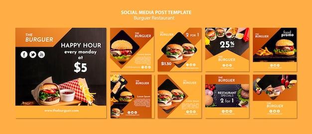 Modello di post social media burger ristorante