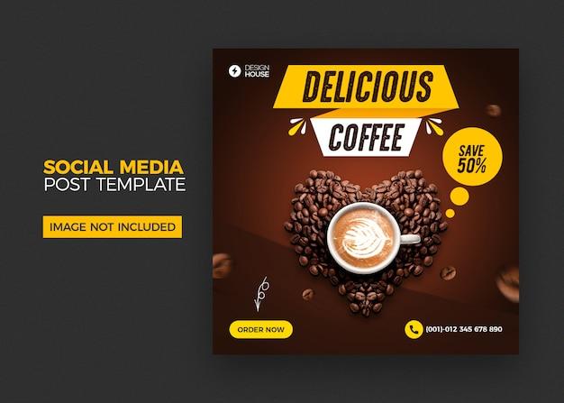 Modello di post social media caffè