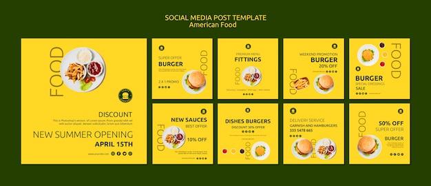 Modello di post social media cibo americano