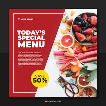 Modello di post social media cibo stile rosso