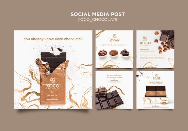 Modello di post social media cioccolato xoco