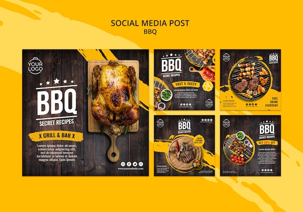 Modello di post social media con bbq