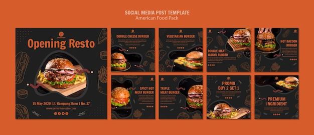 Modello di post social media con cibo americano
