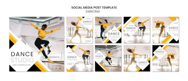 Modello di post social media con dance studio