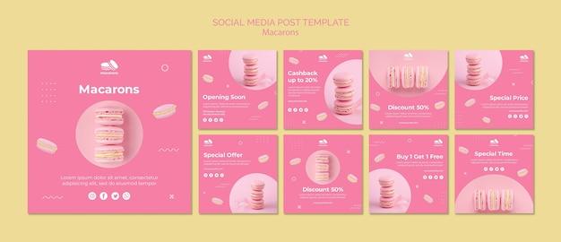 Modello di post social media con macarons
