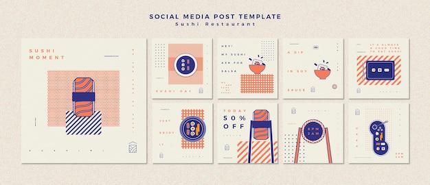 Modello di post social media con ristorante di sushi
