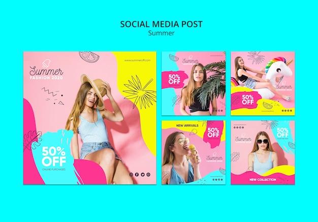 Modello di post social media con saldi estivi