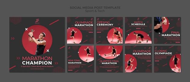 Modello di post social media con sport e tecnologia