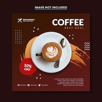Modello di post social media con tema caffè