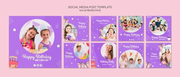 Modello di post social media con tema invito compleanno