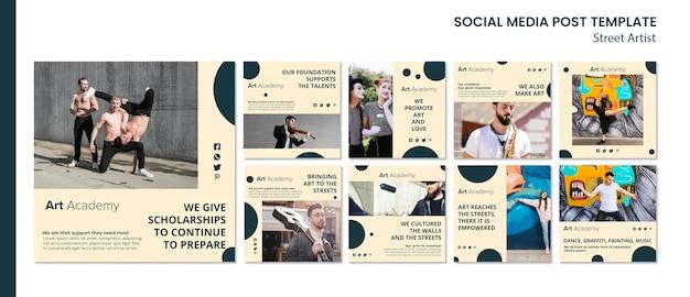 Modello di post social media concetto di artista di strada