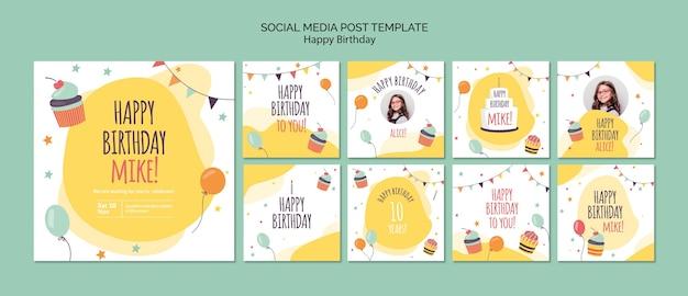 Modello di post social media concetto di buon compleanno