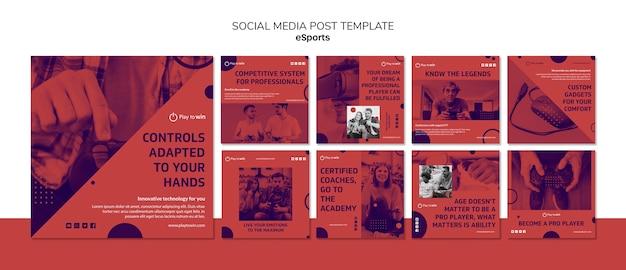 Modello di post social media concetto di e-sport