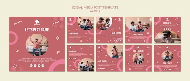 Modello di post social media concetto di gioco