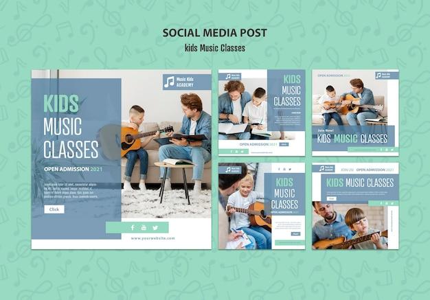 Modello di post social media concetto di lezioni di musica per bambini