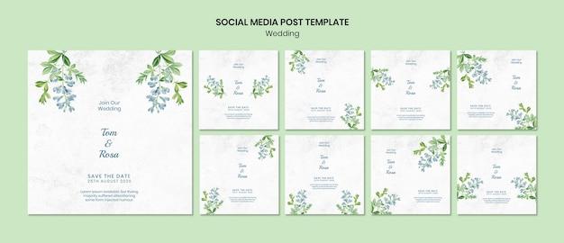 Modello di post social media concetto di matrimonio