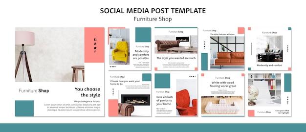 Modello di post social media concetto di negozio di mobili