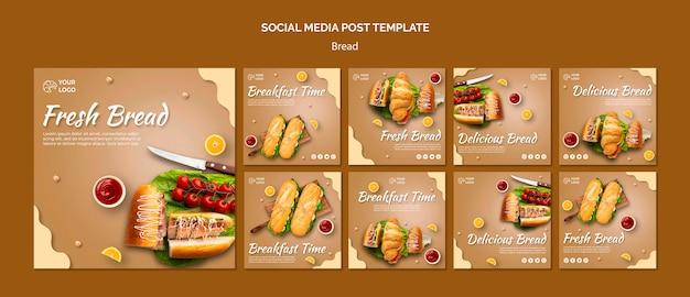 Modello di post social media concetto di pane