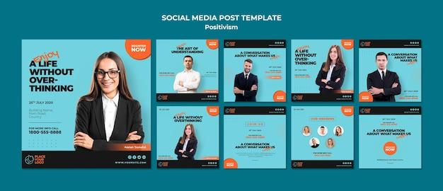 Modello di post social media concetto di positivismo