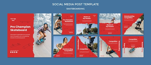 Modello di post social media concetto di skateboard