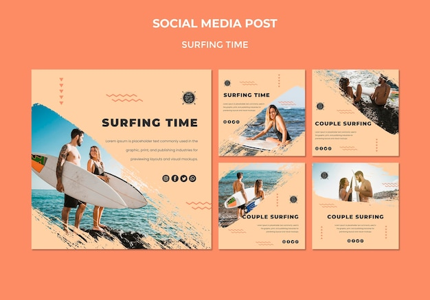 Modello di post social media concetto di surf