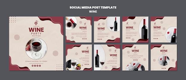 Modello di post social media concetto di vino