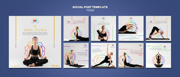 Modello di post social media concetto di yoga