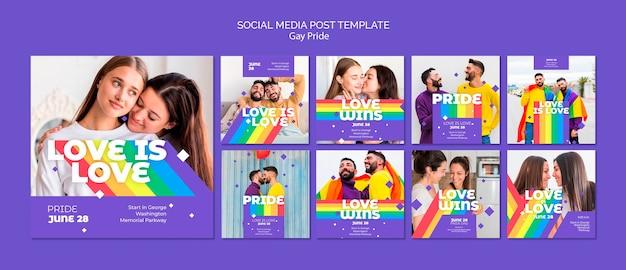 Modello di post social media concetto gay prinde
