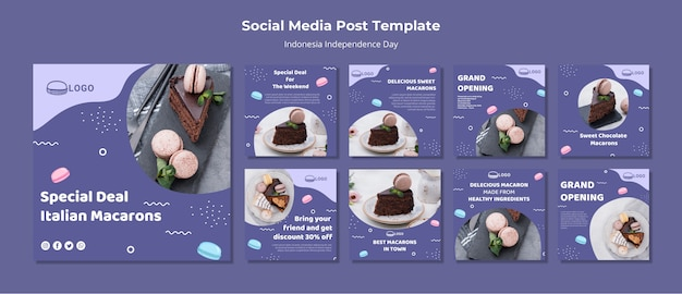 Modello di post social media concetto macarons