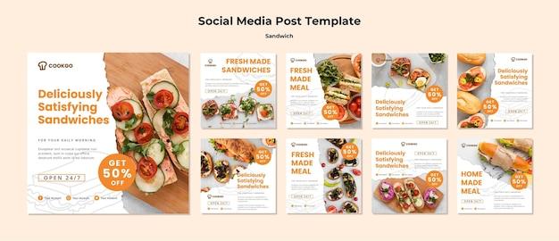 Modello di post social media concetto sandwich