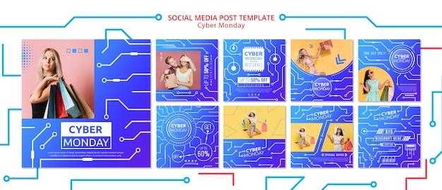 Modello di post social media cyber lunedì